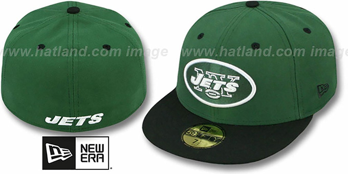 Jets 'NFL 2T-TEAM-BASIC' Green-Black Fitted Hat by New Era : pictured without stickers that these products are shipped with