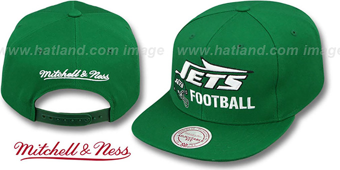 Jets 'NFL-BLOCKER SNAPBACK' Green Hat by Mitchell & Ness : pictured without stickers that these products are shipped with