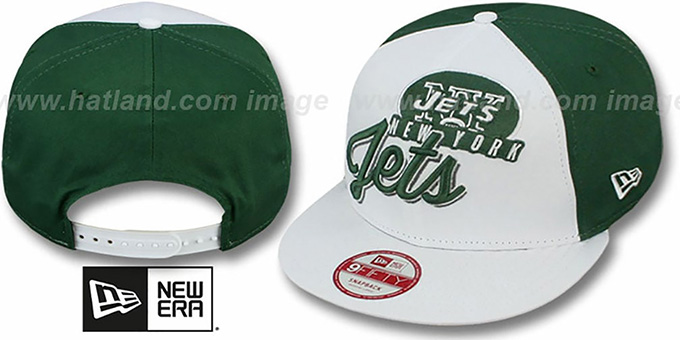 Jets 'NFL CHRIOGRAPH SNAPBACK' White-Green-White Hat by New Era : pictured without stickers that these products are shipped with