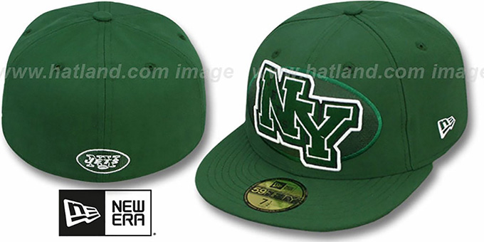 Jets 'NFL FELTN' Green Fitted Hat by New Era : pictured without stickers that these products are shipped with