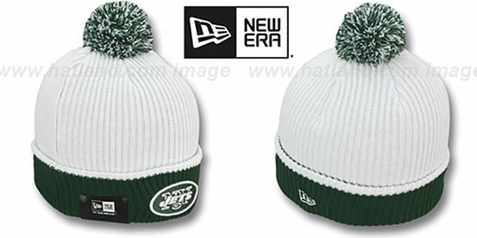 Jets 'NFL FIRESIDE' White-Green Knit Beanie Hat by New Era : pictured without stickers that these products are shipped with