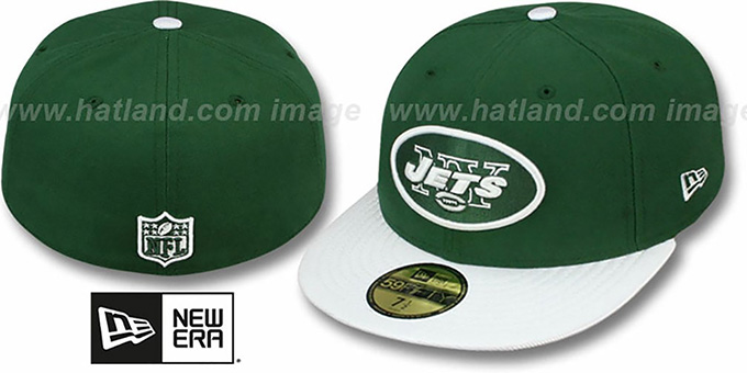 Jets 'NFL JERSEY-BASIC' Green-Grey Fitted Hat by New Era : pictured without stickers that these products are shipped with