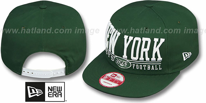 Jets 'NFL LATERAL SNAPBACK' Green Hat by New Era : pictured without stickers that these products are shipped with