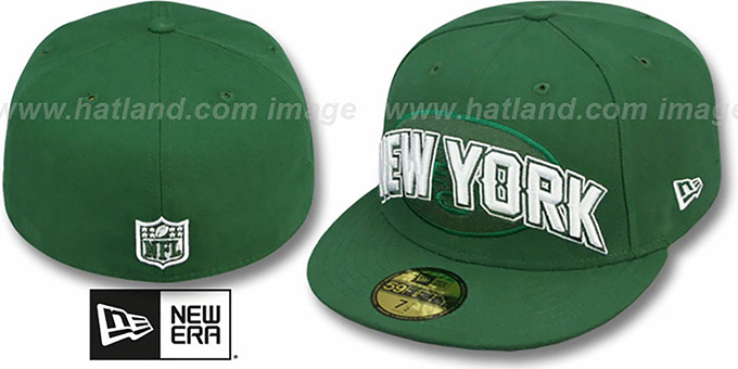 Jets 'NFL ONFIELD DRAFT' Green Fitted Hat by New Era : pictured without stickers that these products are shipped with