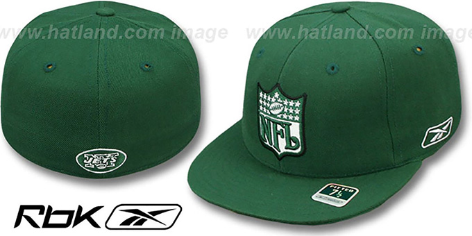 Jets 'NFL-SHIELD' Green Fitted Hat by Reebok : pictured without stickers that these products are shipped with
