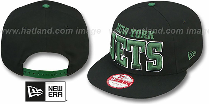 Jets 'NFL SOLID SNAPBACK' Black Hat by New Era : pictured without stickers that these products are shipped with