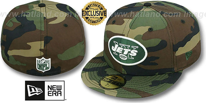 Jets 'NFL TEAM-BASIC' Army Camo Fitted Hat by New Era : pictured without stickers that these products are shipped with