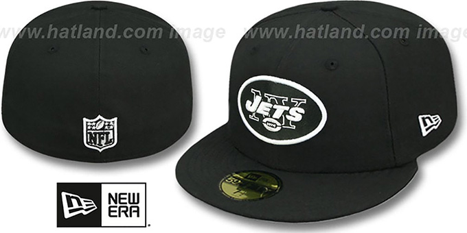 Jets 'NFL TEAM-BASIC' Black-White Fitted Hat by New Era : pictured without stickers that these products are shipped with