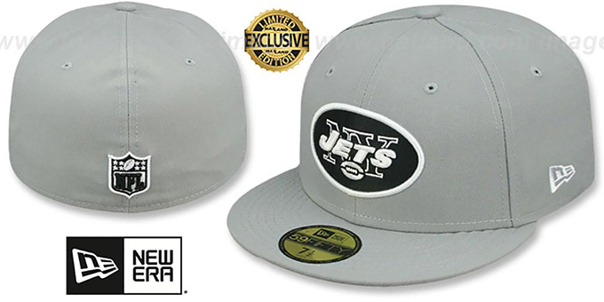 Jets 'NFL TEAM-BASIC' Grey-Black-White Fitted Hat by New Era : pictured without stickers that these products are shipped with