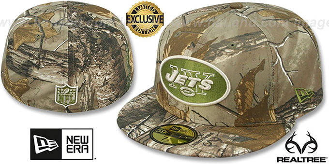 Jets 'NFL TEAM-BASIC' Realtree Camo Fitted Hat by New Era : pictured without stickers that these products are shipped with