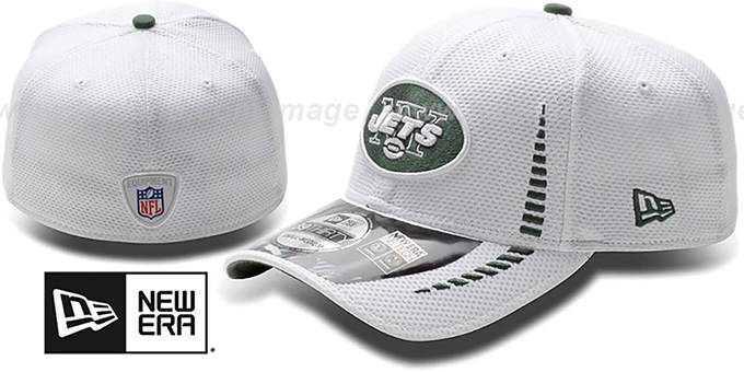 Jets 'NFL TRAINING FLEX' White Hat by New Era : pictured without stickers that these products are shipped with