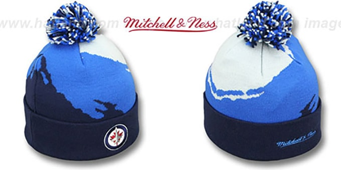 Jets 'PAINTBRUSH BEANIE' by Mitchell and Ness : pictured without stickers that these products are shipped with