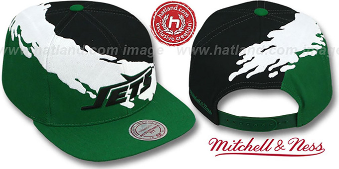 Jets 'PAINTBRUSH SNAPBACK' Black-White-Green Hat by Mitchell & Ness : pictured without stickers that these products are shipped with