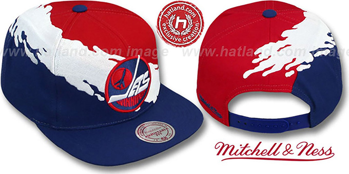 Jets 'PAINTBRUSH SNAPBACK' Red-White-Navy Hat by Mitchell & Ness : pictured without stickers that these products are shipped with