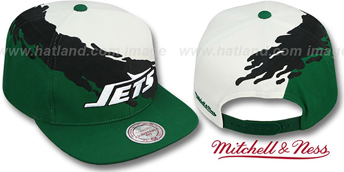 Jets 'PAINTBRUSH SNAPBACK' White-Black-Green Hat by Mitchell & Ness : pictured without stickers that these products are shipped with