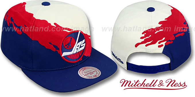 Jets 'PAINTBRUSH SNAPBACK' White-Red-Navy Hat by Mitchell & Ness : pictured without stickers that these products are shipped with