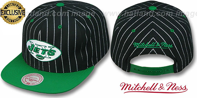 Jets 'PINSTRIPE 2T TEAM-LOGO SNAPBACK' Black-Green Adjustable Hat by Mitchell & Ness : pictured without stickers that these products are shipped with