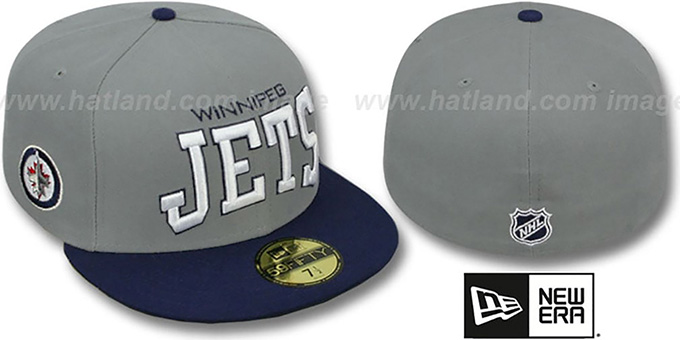 Jets 'PRO-ARCH' Grey-Navy Fitted Hat by New Era : pictured without stickers that these products are shipped with