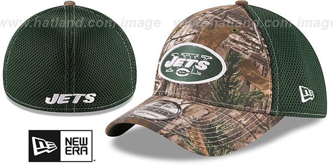 Jets 'REALTREE NEO MESH-BACK' Flex Hat by New Era : pictured without stickers that these products are shipped with