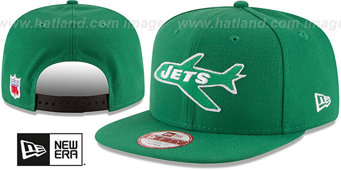 Jets 'RETRO-BASIC SNAPBACK' Green Hat by New Era : pictured without stickers that these products are shipped with