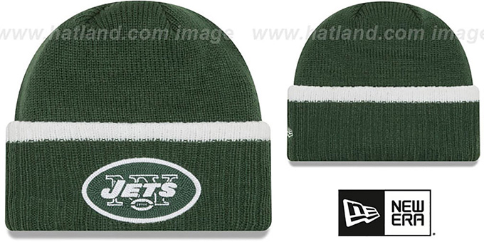 Jets 'RIBBED-UP' Green Knit Beanie Hat by New Era