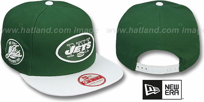 Jets 'SAID SNAPBACK' Green-White Hat by New Era : pictured without stickers that these products are shipped with