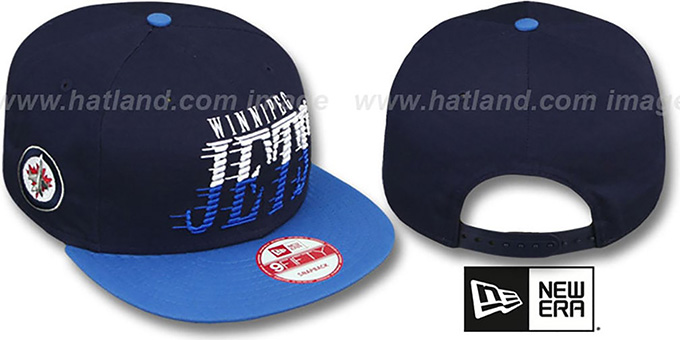 Jets 'SAILTIP SNAPBACK' Navy-Sky Hat by New Era : pictured without stickers that these products are shipped with