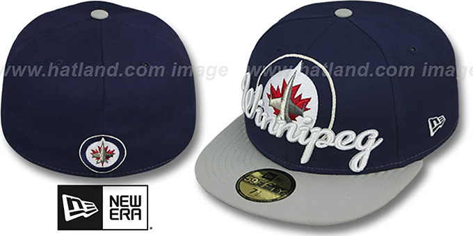 Jets 'SCRIPT-PUNCH' Navy-Grey Fitted Hat by New Era : pictured without stickers that these products are shipped with