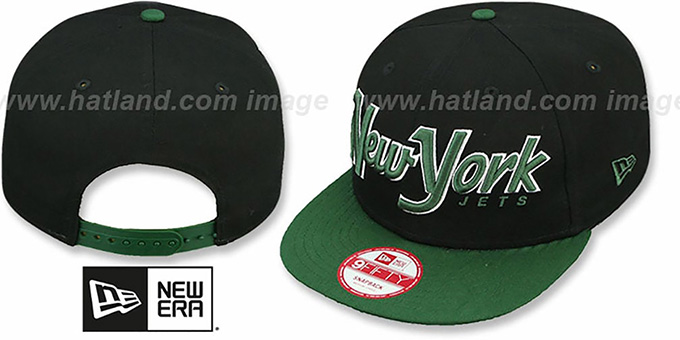 Jets 'SNAP-IT-BACK SNAPBACK' Black-Green Hat by New Era : pictured without stickers that these products are shipped with