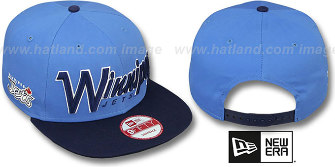 Jets 'SNAP-IT-BACK SNAPBACK' Sky-Navy Hat by New Era : pictured without stickers that these products are shipped with