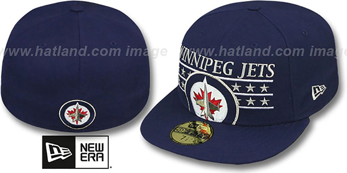 Jets 'STAR STUDDED' Navy Fitted Hat by New Era : pictured without stickers that these products are shipped with