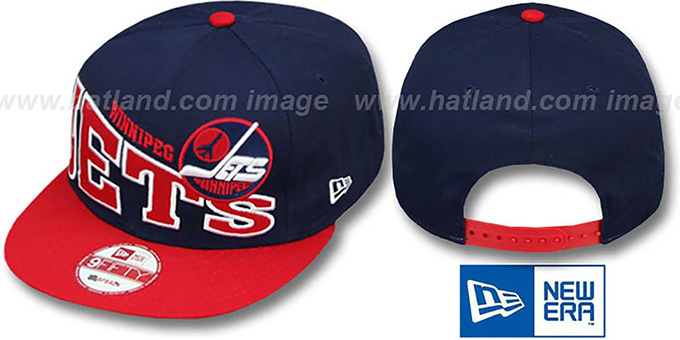 Jets 'STOKED SNAPBACK' Navy-Red Hat by New Era : pictured without stickers that these products are shipped with