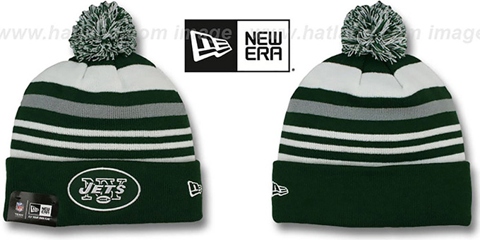 Jets 'STRIPEOUT' Knit Beanie Hat by New Era : pictured without stickers that these products are shipped with