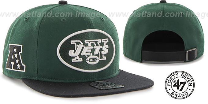 Jets 'SUPER-SHOT STRAPBACK' Green-Black Hat by Twins 47 Brand : pictured without stickers that these products are shipped with