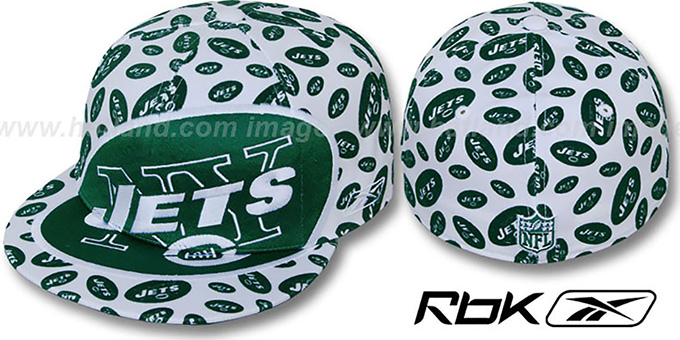 Jets 'SUPERSIZE FLOCKING' White Fitted Hat by Reebok : pictured without stickers that these products are shipped with