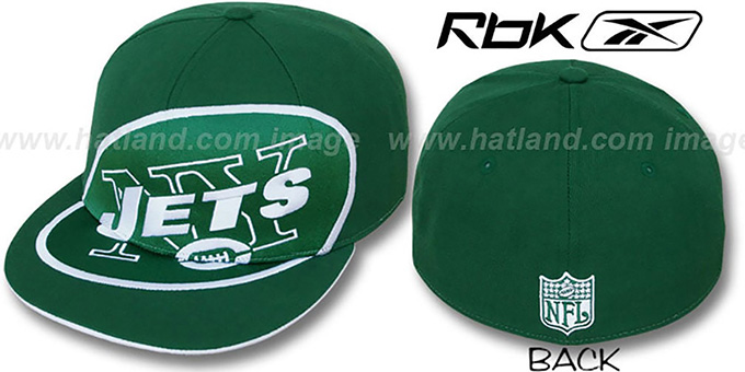 Jets 'SUPERSIZE' Green Fitted Hat by Reebok : pictured without stickers that these products are shipped with
