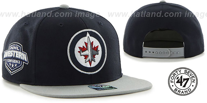 Jets 'SURE-SHOT SNAPBACK' Navy-Grey Hat by Twins 47 Brand : pictured without stickers that these products are shipped with