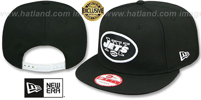 Jets 'TEAM-BASIC SNAPBACK' Black-White Hat by New Era : pictured without stickers that these products are shipped with