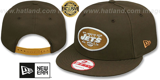 Jets 'TEAM-BASIC SNAPBACK' Brown-Wheat Hat by New Era : pictured without stickers that these products are shipped with