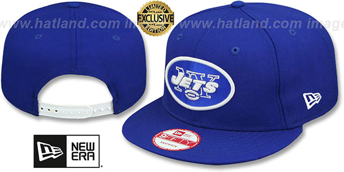 Jets 'TEAM-BASIC SNAPBACK' Royal-White Hat by New Era : pictured without stickers that these products are shipped with