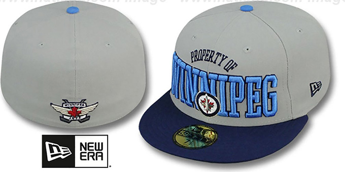 Jets 'TEAM-PRIDE' Grey-Navy Fitted Hat by New Era : pictured without stickers that these products are shipped with