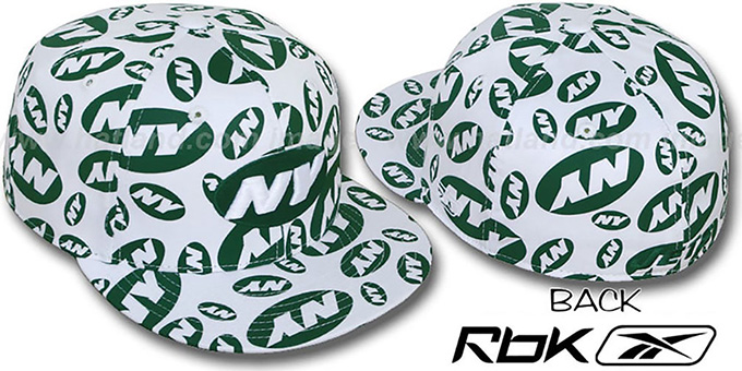 Jets 'TEAM-PRINT ALL-OVER' White Fitted Hat by Reebok : pictured without stickers that these products are shipped with