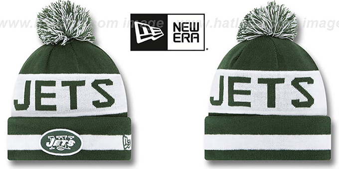 Jets 'THE-COACH' Green Knit Beanie Hat by New Era : pictured without stickers that these products are shipped with