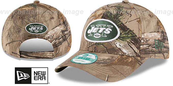 Jets 'THE LEAGUE REALTREE' Strapback Hat by New Era : pictured without stickers that these products are shipped with