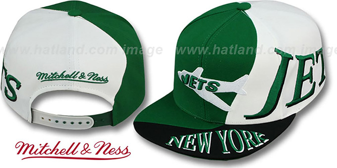 Jets 'THE SKEW SNAPBACK' Hat by Mitchell & Ness : pictured without stickers that these products are shipped with