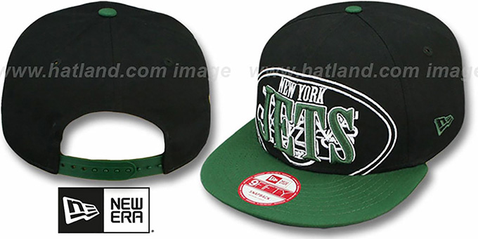 Jets 'THROUGH SNAPBACK' Black-Green Hat by New Era : pictured without stickers that these products are shipped with