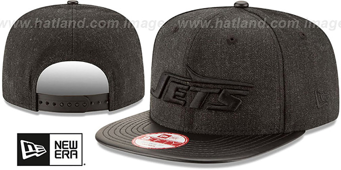 Jets 'THROWBACK LEATHER-MATCH SNAPBACK' Black Hat by New Era : pictured without stickers that these products are shipped with