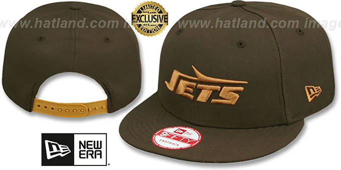 Jets 'THROWBACK TEAM-BASIC SNAPBACK' Brown-Wheat Hat by New Era : pictured without stickers that these products are shipped with