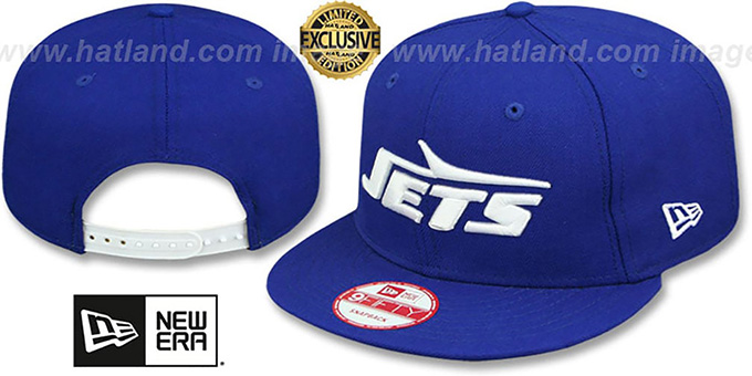 Jets 'THROWBACK TEAM-BASIC SNAPBACK' Royal-White Hat by New Era : pictured without stickers that these products are shipped with