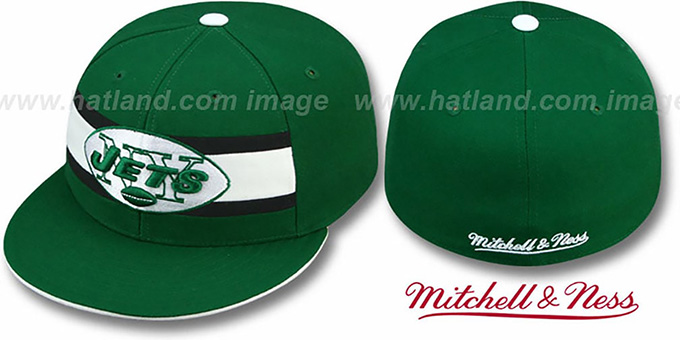 Jets 'THROWBACK TIMEOUT' - 1 Green Fitted Hat by Mitchell & Ness : pictured without stickers that these products are shipped with